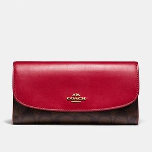 NWT Coach Checkbook Wallet In Signature Canvas